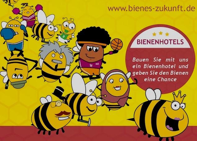 """Umweltmarkt: Das Projekt """"Bienes Zukunft"""" ist dabei- Logo mit Comic-Bienen, die durch das Bild schwärmen"""