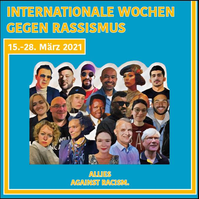 Flyer mit Fotos von Menschen, die mitmachen. Die Fotos sind im Comic-Stil gehalten. Der Hintergrund ist blau, ein gelber Rand läuft um das Bild herum. Unten steht: Allies aganist Rasism.
